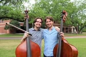 Double Bass Player Jonathan Keith (left) will reconnect with his colleague Ian Donovan (right), a bass player he has known since their high school years in Houston through the Quantum Bass Center. Both musicians attend Baylor University and both were accepted as 2019 Texas Music Festival Fellows. Keith is originally from the Spring Branch/Memorial area.