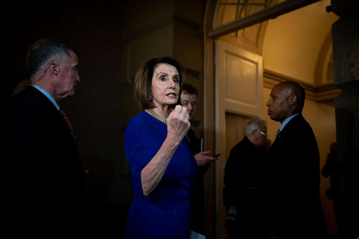 House Speaker Nancy Pelosi (D-Calif.) leaves a closed-door meeting with House Democrats on Capitol Hill, in Washington on Wednesday, May 22, 2019. A bloc of liberal Democrats began pressing on Tuesday for an impeachment inquiry of President Donald Trump, underscoring party divisions and the growing difficulties that Pelosi faces as she tries to chart a more methodical course. (Erin Schaff/The New York Times)
