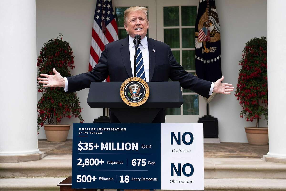 """US President Donald Trump speaks in the Rose Garden of the White House on May 22, 2019, in Washington, DC. - Trump is responding to US Speaker of the House Nancy Pelosi, who accused Trump of """"a cover-up,"""" during a press conference. Trump urged Democrats to end 'phony investigations.' (Photo by Jim WATSON / AFP)JIM WATSON/AFP/Getty Images"""
