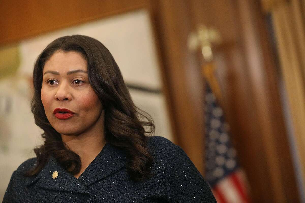 Mayor London Breed speaks about the SFMTA during a press conference in the Mayor's Office at City Hall on Monday, April 29, 2019 in San Francisco, Calif.