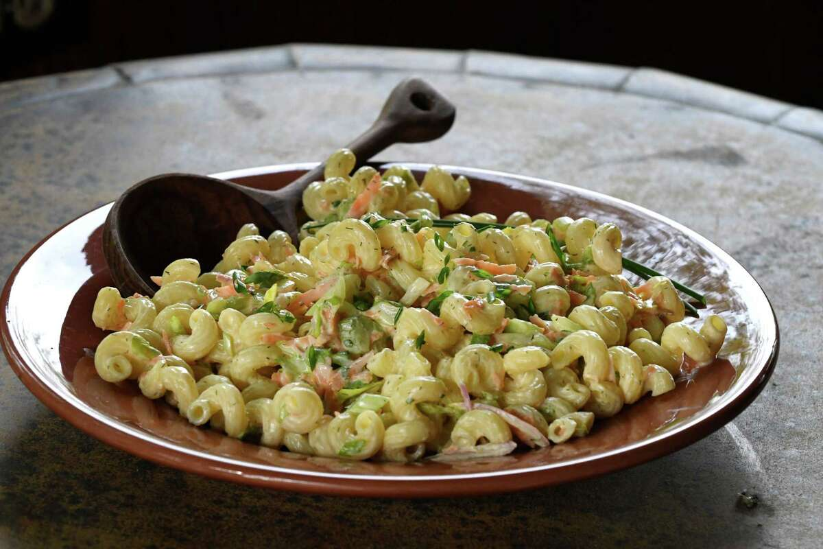 Buttermilk macaroni salad; shallot, carrot, celery, garlic and chive from Caroline Barrett on Wednesday, May 15, 2019, in Delmar, N.Y. (Will Waldron/Times Union)