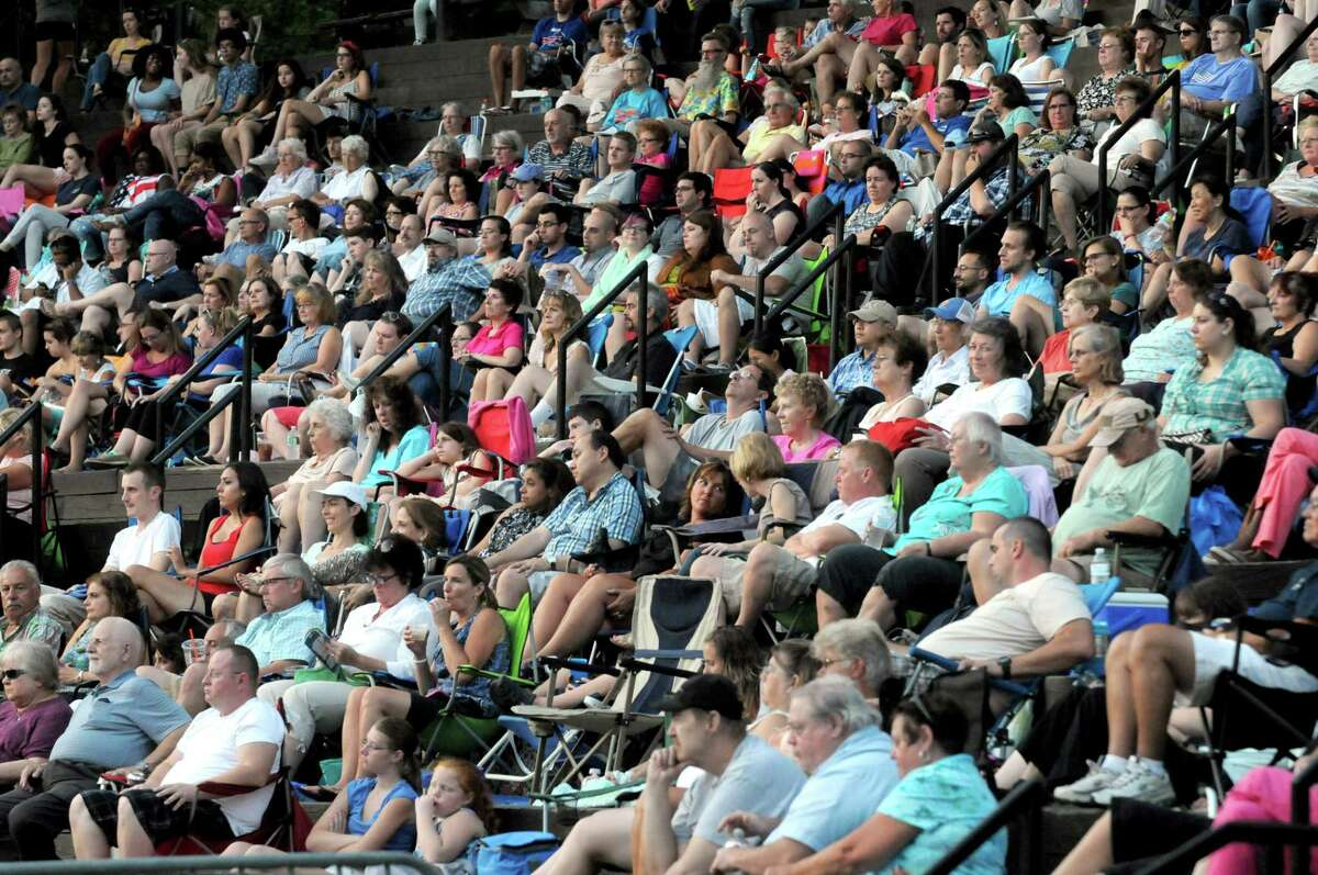 """A large crowd watches the Park Playhouse performance of """"The Pajama Game"""" at Washington Park on Wednesday Aug. 19, 2015 in Troy, N.Y. (Michael P. Farrell/Times Union)"""