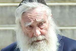 Rabbi Daniel Greer, now 79, of New Haven, outside New Haven Superior Court on Elm Street in New Haven.