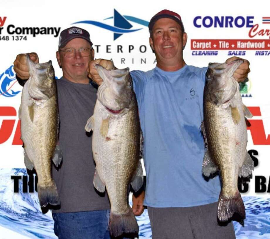David Bozarth and Russell Cecil came in first place in the CONROEBASS Tuesday Tournament with a stringer weight of 22.60 pounds.  They also had big bass for the tournament weighing 10.46 pounds. Photo: CONROEBASS