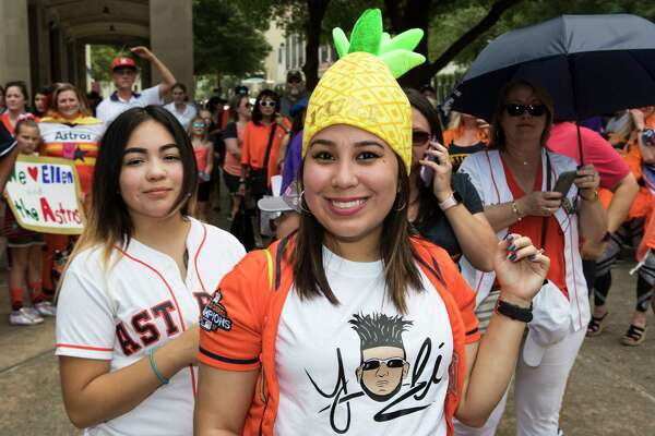 "Houston Astros fans line up for a chance to appear on ""The Ellen DeGeneres Show"" in a segment being taped outside Minute Maid Park on Wednesday, May 22, 2019, in Houston."