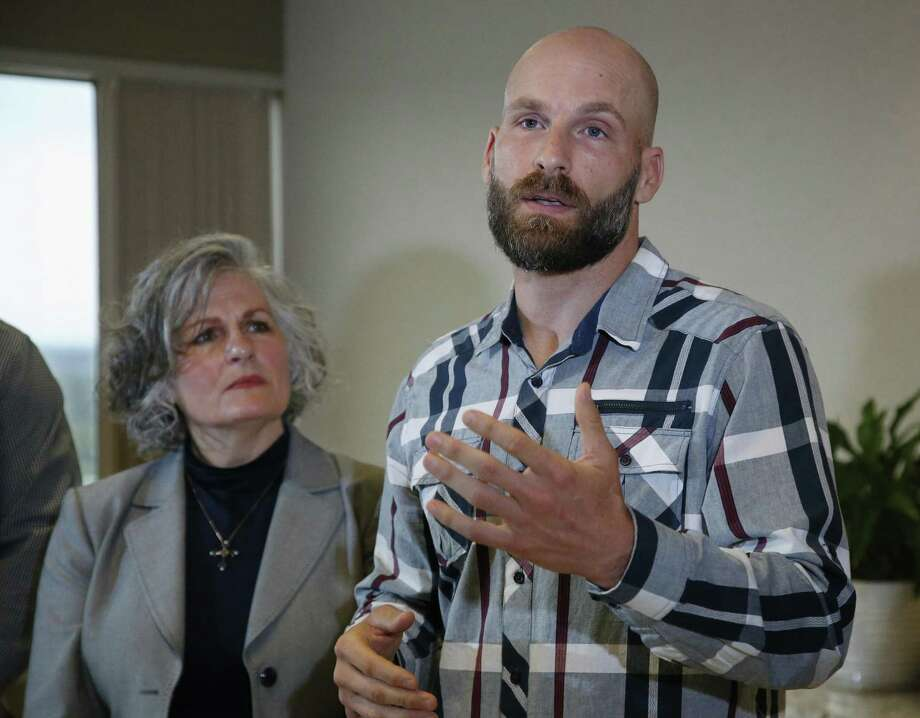 Michael Behenna, right, answers a question during a news conference May 8 in Oklahoma City. At left is his mother, Vicki Behenna. Behenna has been pardoned from his 2009 conviction for killing an Iraqi prisoner. A reader worries what message these pardons will impart. Photo: Sue Ogrocki /Associated Press / Copyright 2019 The Associated Press. All rights reserved.