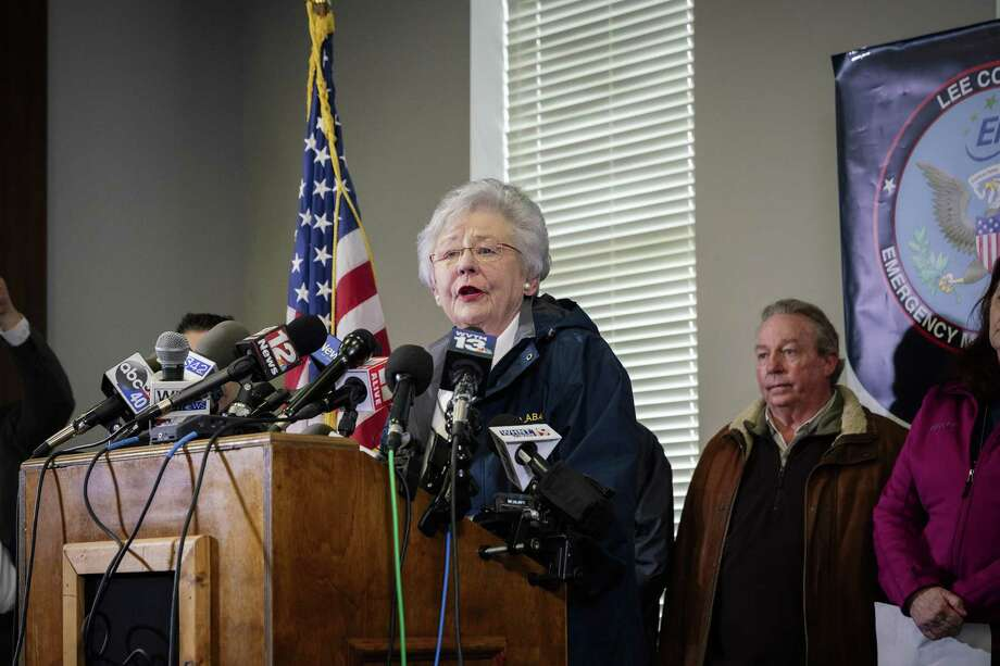 Gov. Kay Ivey of Alabama speaks at a news conference in Beauregard, Ala., March 4. Even before the near-total ban that Ivey signed on May 16, three abortion clinics remained in the state. The state is aiming for zero. Those supporting the ban of abortion should be responsible for the lives of children not wanted by the parent(s). Photo: AUDRA MELTON /NYT / NYTNS