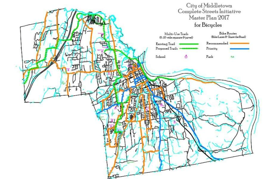 The city of Middletown's Complete Streets plan for bicycle routes Photo: Contributed Photo