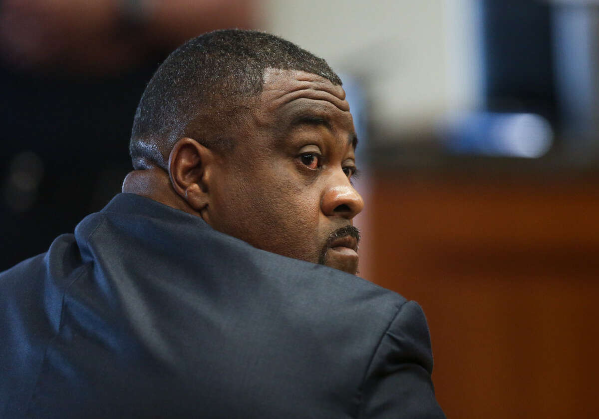Tyrone Roy Auzenne appears in the 232nd State District Court for sentencing after pleading guilty to murdering his boss Tuesday, May 21, 2019, in Houston.