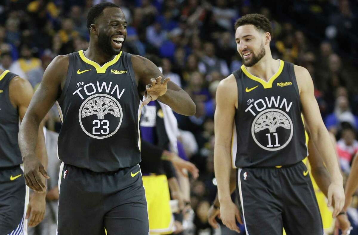 On Wednesday May 22, 2019, Klay Thompson made his first All-Defensive team and Draymond Green tied Nate Thurmond (1971-74) for the franchise's most All-Defensive Team selections with five. Golden State Warriors forward Draymond Green (23) and guard Klay Thompson (11) celebrate in the first half of an NBA game against the Los Angeles Lakers at Oracle Arena on Saturday, Feb. 2, 2019, in Oakland, Calif.
