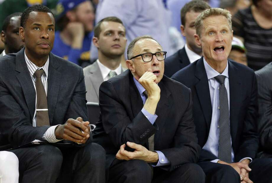 Golden State Warriors' coaching staff Jarron Collins, Ron Adams, Steve Kerr and Luke Walton during 121-85 over New York Knicks in NBA game at Oracle Arena in Oakland, Calif., on Wednesday, March 16, 2016. Photo: Scott Strazzante / The Chronicle / ONLINE_YES