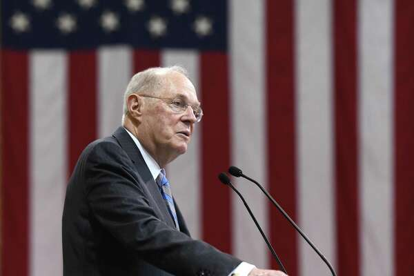 Retired United States Supreme Court Associate Justice Anthony Kennedy speaks at the Brunswick School 117th Commencement at Brunswick's School's Dann Gymnasium in Greenwich, Conn. Wednesday, May 22, 2019. Retired Supreme Court Associate Justice Anthony M. Kennedy gave the commencement speech before 100 new graduates walked across the stage.