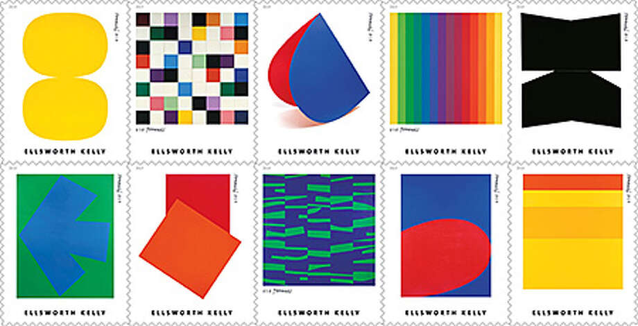 The artwork of Ellsworth Kelly, who lived and worked in Columbia County, are featured on new Forever stamps. Photo: U.S. Postal Service