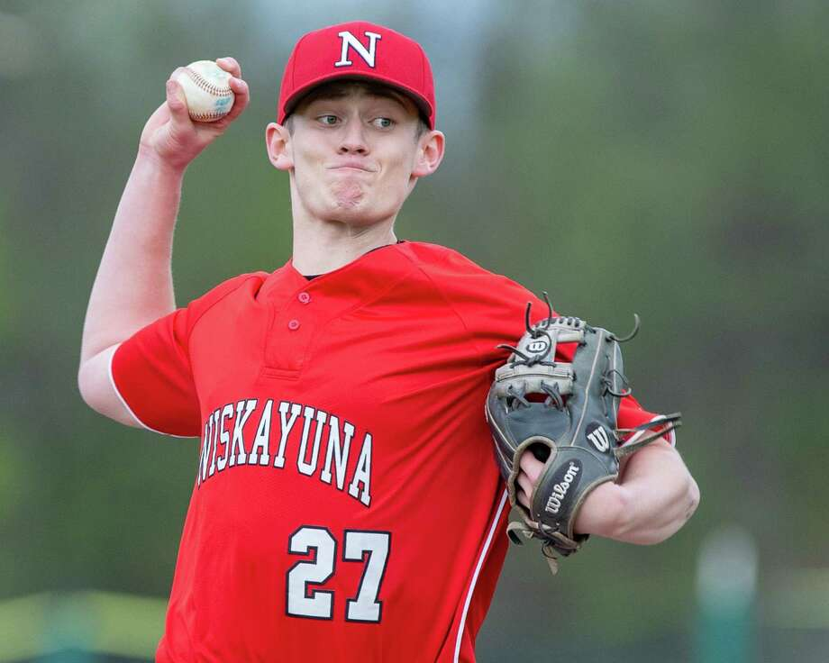 Niskayuna pitcher Cole Hedden during a Suburban Council matchup against Shenendehowa at Niskayuna High School on Monday, April 29, 2019 (Jim Franco/Special to the Times Union.)