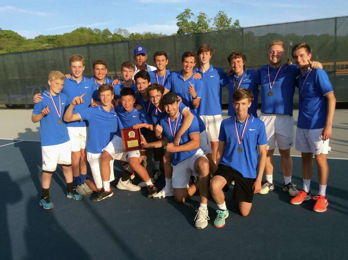 The Darien High School boys tennis team won the 2019 FCIAC title with a 4-2 win over defending champion Staples at Wilton High School on Wednesday, May 22, 2019.