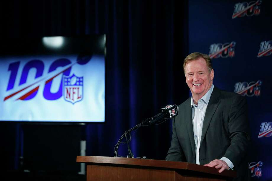 NFL Commissioner Roger Goodell speaks to the media during the NFL football owners meeting on Wednesday, May 22, 2019, in Key Biscayne, Fla. (AP Photo/Brynn Anderson) Photo: Brynn Anderson / Copyright 2019 The Associated Press. All rights reserved.