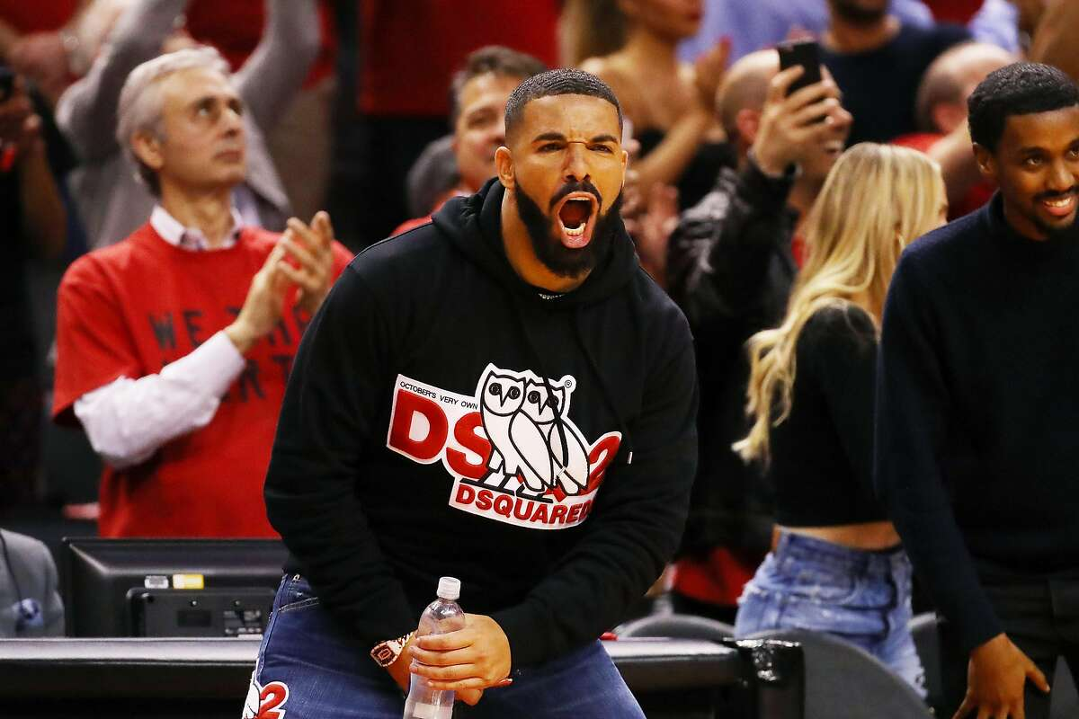 Drake reacts during game four of the NBA Eastern Conference Finals between the Milwaukee Bucks and the Toronto Raptors at Scotiabank Arena on May 21, 2019.