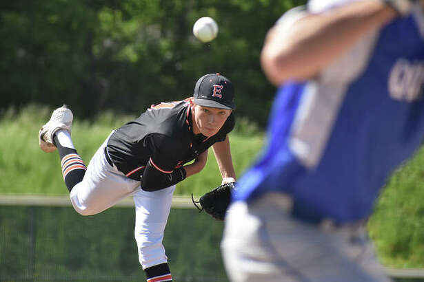 Edwardsville starting pitcher Grant Schaefer delivers a pitch to a Quincy hitter in the first inning of the Class 4A Alton Regional semifinals.