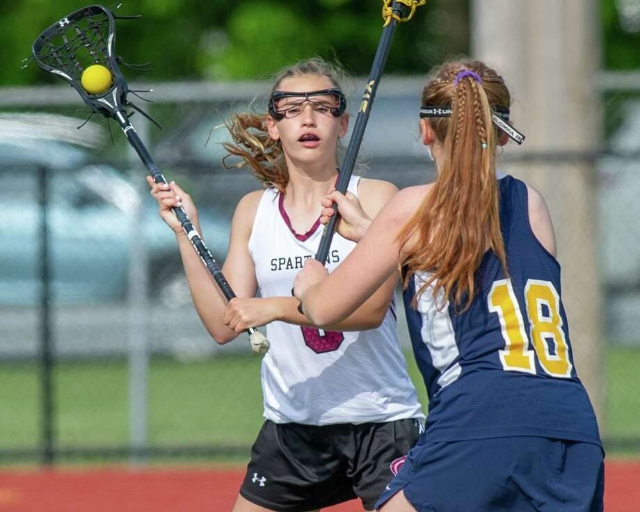 Burnt Hills-Ballston Lake midfielder MK Lescault looks past Averill Park defender Janey Adams during the Section II, Class C championship at Mohonasen High School on Wednesday, May 22, 2019 (Jim Franco/Special to the Times Union.)