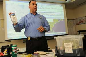 FILE PHOTO: Bridgeport Director of Emergency Management and Homeland Security Scott Appleby talks through the elements of a emergency preparedness kit at the city's Emergency Operations Center at 581 North Washington Avenue in Bridgeport, Conn. on Tuesday, August 29, 2017.