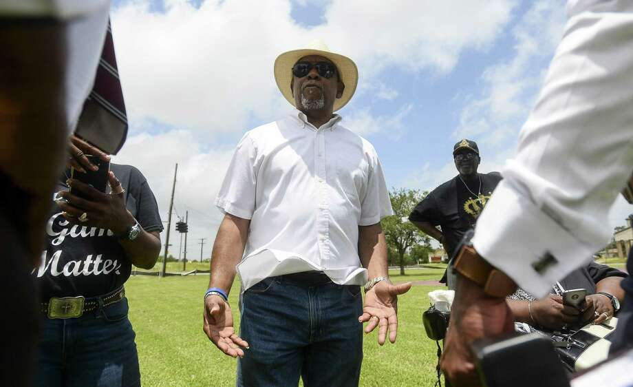 John Beard, with the Port Arthur Community Action Network, talks to members of the media and the community outside of Valero Energy's Port Arthur Refinery Wednesday. Photo taken on Wednesday, 05/22/19. Ryan Welch/The Enterprise Photo: Ryan Welch, Beuamont Enterprise / The Enterprise / © 2019 Beaumont Enterprise