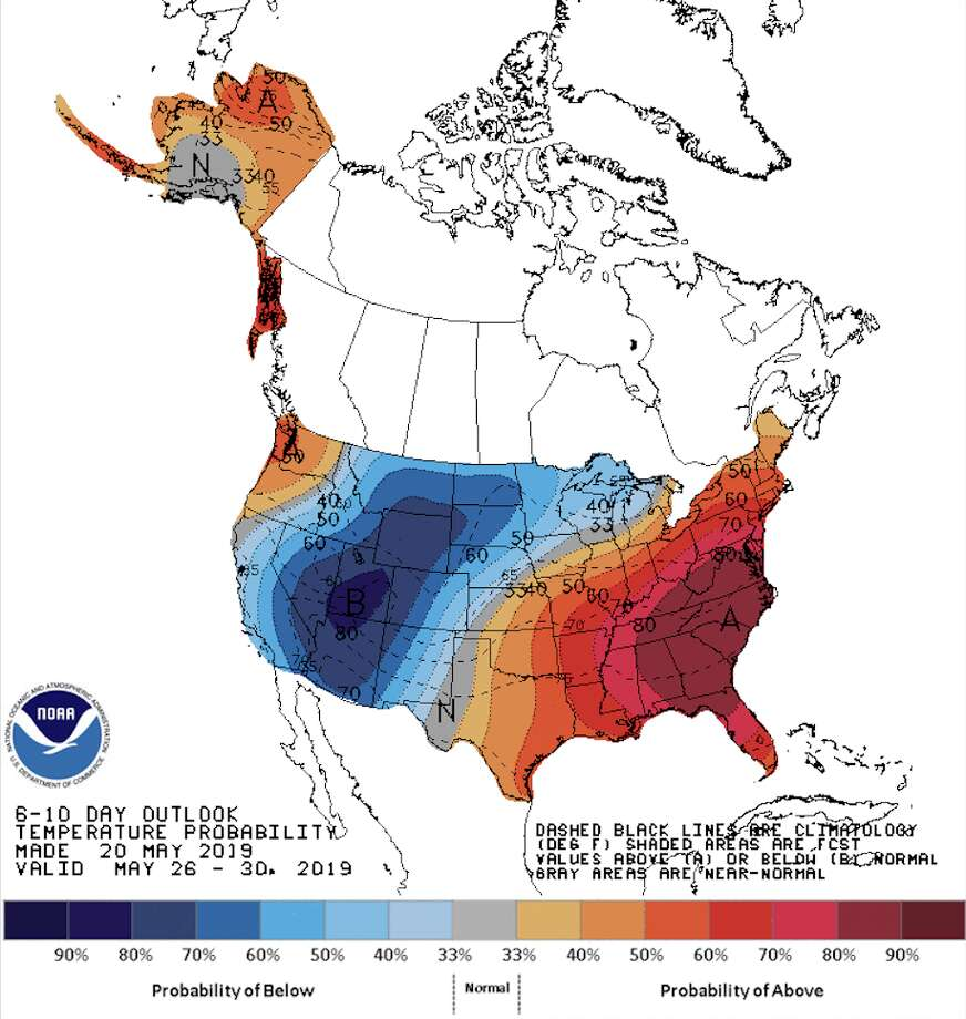 NOAA's Climate Prediction Center forecast for the 2019 Memorial Day weekend across the United States: The overall trend is cool in the West and hot in the East. Photo: NOAA Climate Prediction Center