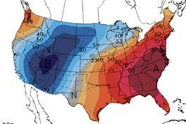 NOAA's Climate Prediction Center forecast for the Memorial Day weekend 2019 across the United States: The overall trend is cool in the West and hot in the East.