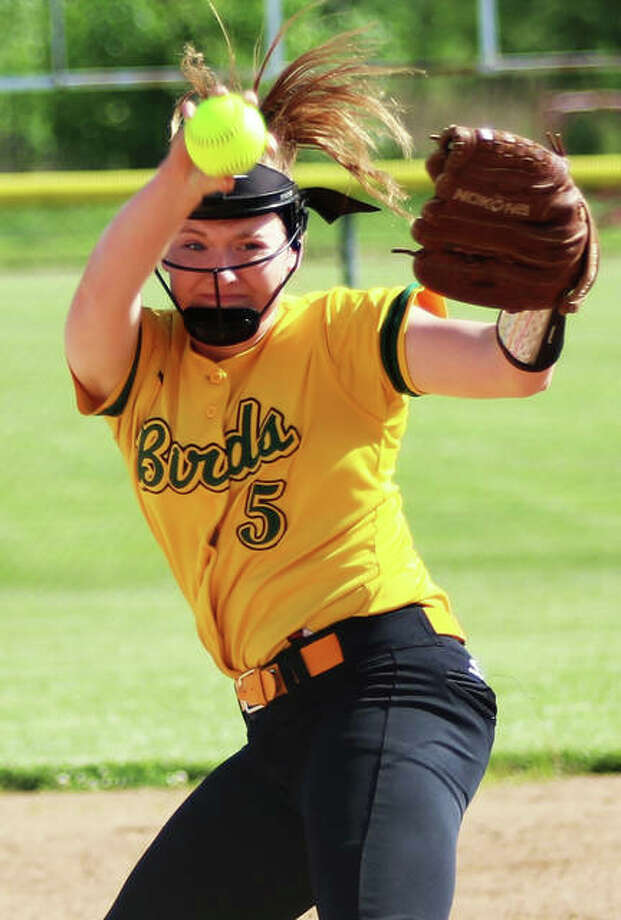 Southwestern pitcher Bailey Nixon delivers for one of her 14 strikeouts in a two-hit against Williamsville on Wednesday at the Litchfield Class 2A Sectional. Photo: Greg Shashack / The Telegraph