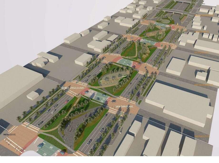 En esta imagen del diseño preliminar para el área de cuatro cuadras muestra como se vería el proyecto terminado. Photo: Imagen De Cortesía