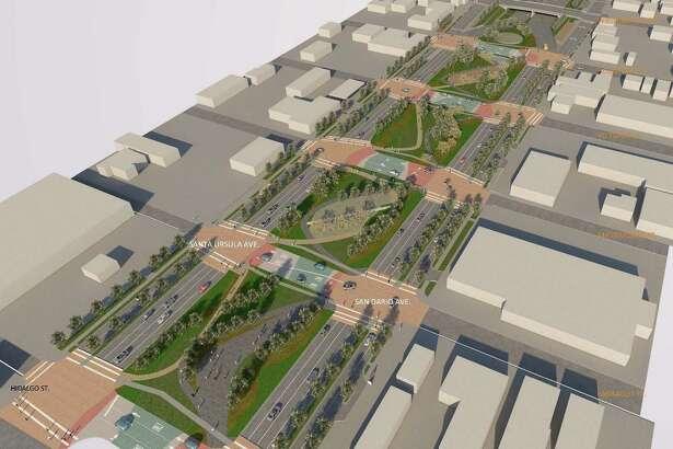 En esta imagen del diseño preliminar para el área de cuatro cuadras muestra como se vería el proyecto terminado.