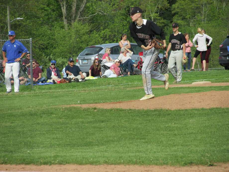Torrington starter Adam Vanotti drove in two runs in a Red Raider win at Litchfield High School Wednesday, completing a three-game drive to qualify for next week's Class L state tournament. Photo: Peter Wallace / For Hearst Connecticut Media