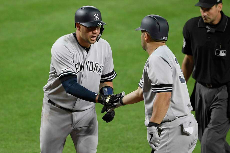New York Yankees' Gary Sanchez, left, celebrates his home run with Kendrys Morales during the fourth inning of the team's baseball game against the Baltimore Orioles, Wednesday, May 22, 2019, in Baltimore. The Yankees won 7-5. (AP Photo/Nick Wass) Photo: Nick Wass / Copyright 2019 The Associated Press. All rights reserved.