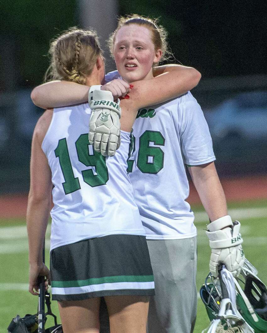 Shenendehowa goal keeper Aislinn Sweeney is consoled by midfielder Celia Ralph after the team lost to Bethlehem in the Section II, Class A championship at Mohonasen High School on Wednesday, May 22 2019 (Jim Franco/Special to the Times Union.)