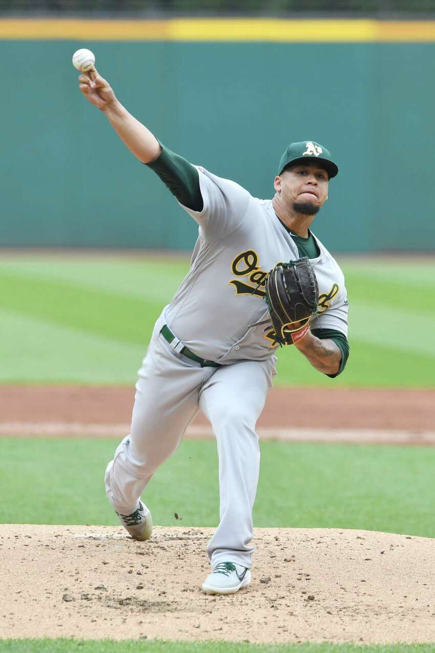 CLEVELAND, OHIO - MAY 22: Starting pitcher Frankie Montas #47 of the Oakland Athletics pitches during the first inning against the Cleveland Indians at Progressive Field on May 22, 2019 in Cleveland, Ohio. (Photo by Jason Miller/Getty Images)
