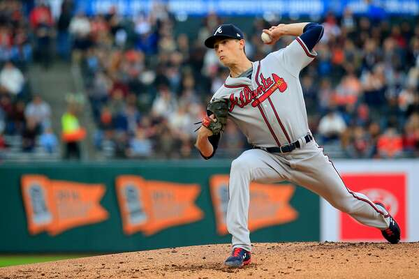 SAN FRANCISCO, CALIFORNIA - MAY 22: Max Fried #54 of the Atlanta Braves pitches during the first inning against the San Francisco Giants at Oracle Park on May 22, 2019 in San Francisco, California. (Photo by Daniel Shirey/Getty Images)