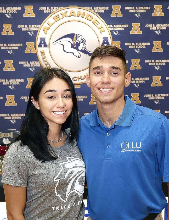 Alexander High School athletes Avery Puig and Massimo Garcia signed their National Letter of Intent to continue their careers at the next level on Wednesday. Puig will run track & field for Trinity University in San Antonio and Garcia will play golf for Our Lady of the Lake University in San Antonio. Photo: Cuate Santos /Laredo Morning Times / Laredo Morning Times