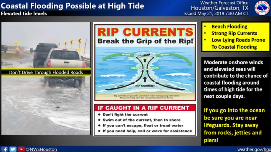 The National Weather Service is reminding people of beach safety tips ahead of the Memorial Day weekend, when high tides and strong rip currents are expected.  >> Click through the following gallery to see a guide to the best beaches in Texas. Photo: National Weather Service
