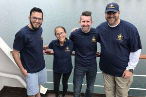 2019 CITGO Nautilus Ambassadors Jason McGee - Lake Charles, Louisiana; Kimberly Moore - Corpus Christi, TX; Scott Collins - Lemont Illinois and Bob Fulbright - Houston, TX aboard the E/V Nautilus.