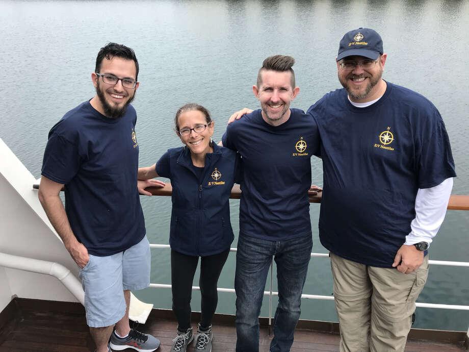 2019 CITGO Nautilus Ambassadors Jason McGee - Lake Charles, Louisiana; Kimberly Moore - Corpus Christi, TX; Scott Collins - Lemont Illinois and Bob Fulbright - Houston, TX aboard the E/V Nautilus. Photo: Courtesy Photo