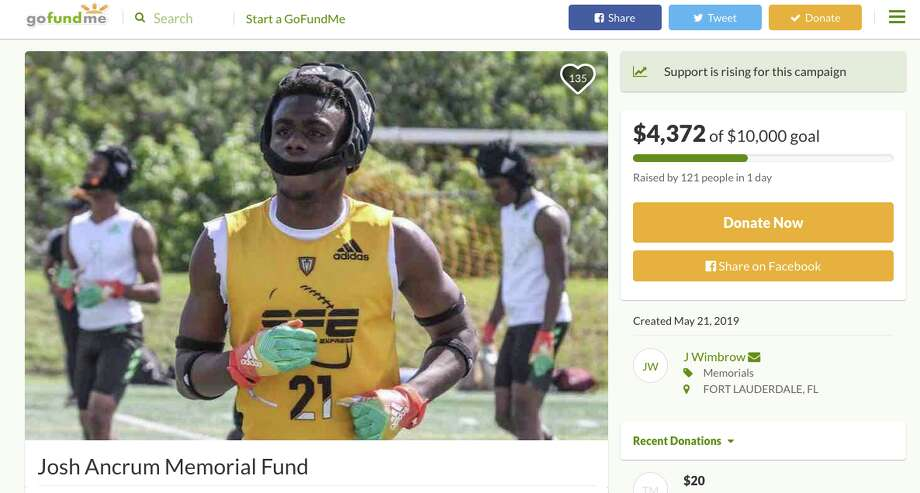 South Florida Express set up a gofundme to cover the funeral expenses of Josh Ancrum. Photo: GoFundMe.com