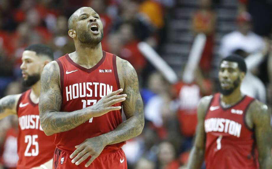 PHOTOS: Rockets unveil new uniforms  Houston Rockets forward PJ Tucker (17) reacts to a score against the Golden State Warriors during the second half of Game 4 of a NBA Western Conference semifinal playoff game at Toyota Center, in Houston , Monday, May 6, 2019. >>>See the Rockets' new uniforms for the 2019-2020 season ...  Photo: Karen Warren/Hearst Newspapers