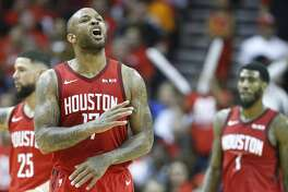 Houston Rockets forward PJ Tucker (17) reacts to a score against the Golden State Warriors during the second half of Game 4 of a NBA Western Conference semifinal playoff game at Toyota Center, in Houston , Monday, May 6, 2019.