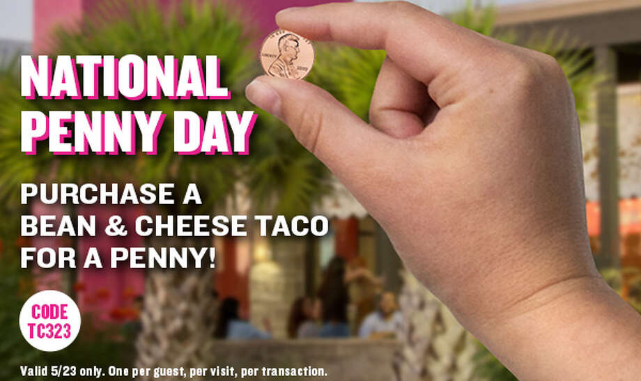 Taco Cabana is celebrating National Penny Day with a bean and cheese taco for one cent. While a San Antonio breakfast staple, the simple yet satisfying taco can be enjoyed all day long. Photo: Courtesy, Taco Cabana