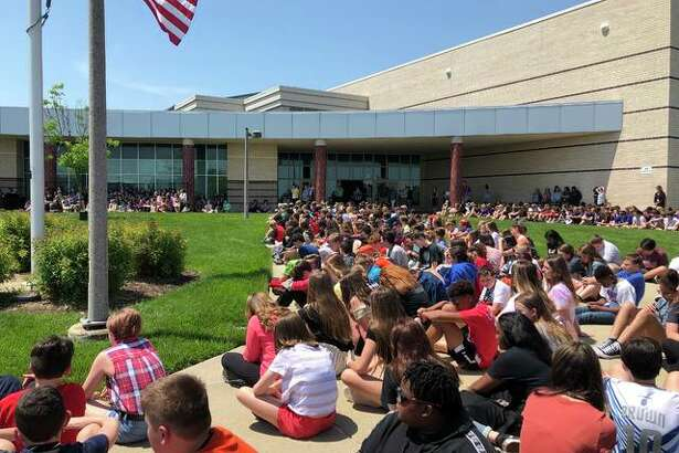The entire Liberty Middle School student body met on the school's front lawn last Thursday for the school's annual Flag Day.