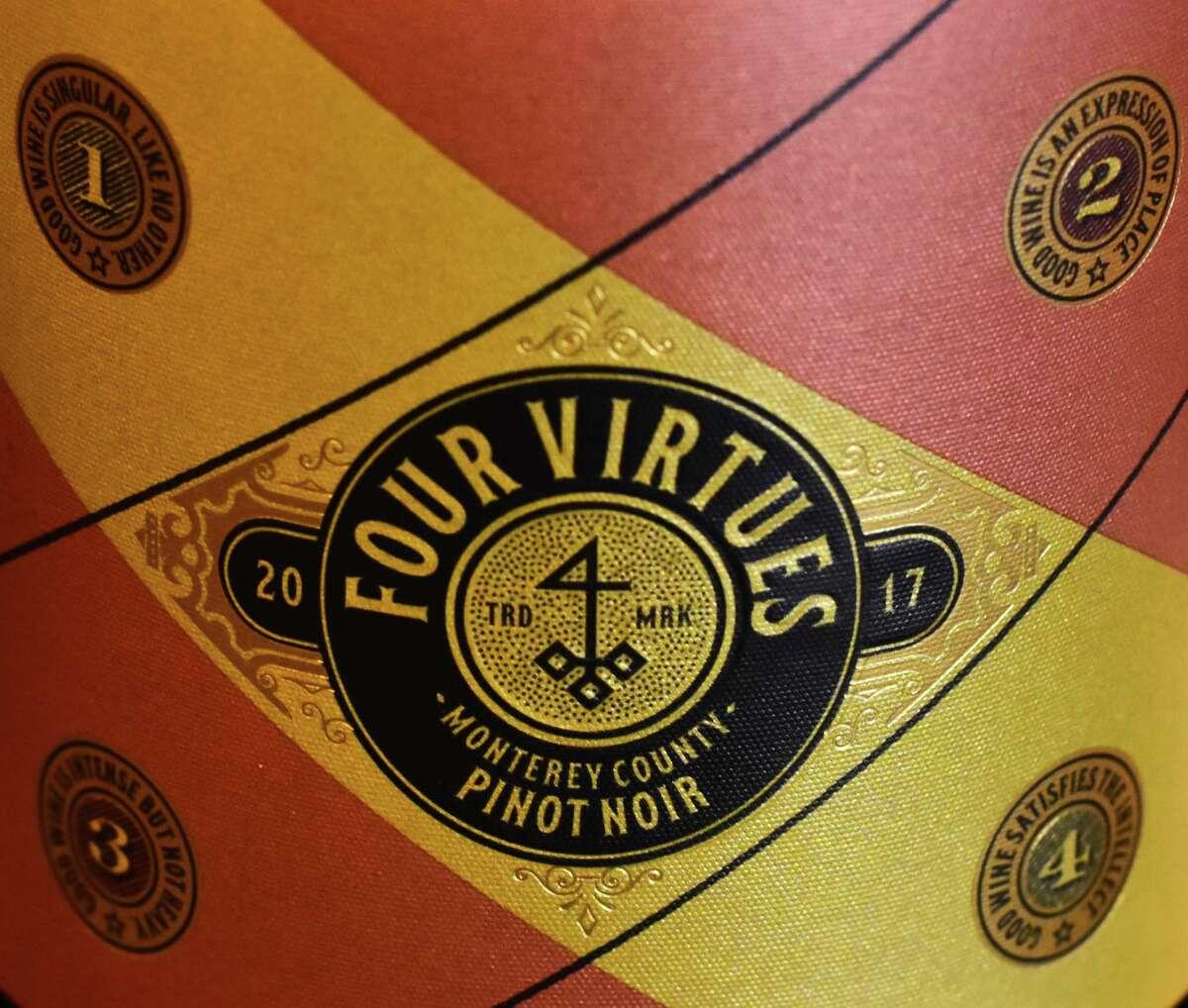 Label of Four Virtues pinot noir. (Steve Barnes/Times Union)