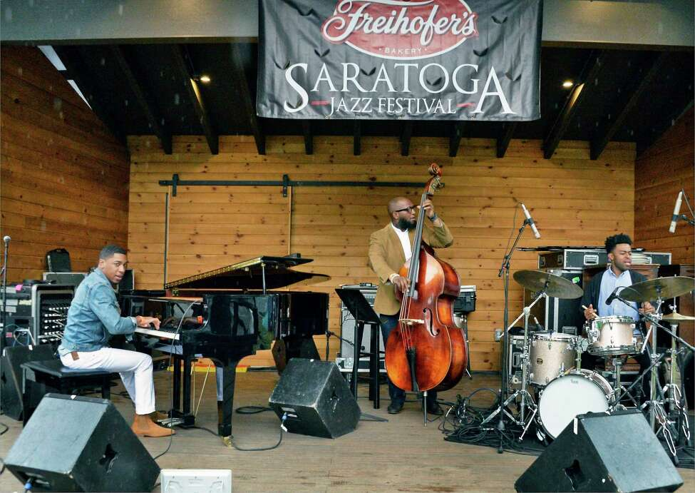 The Christian Sands Trio performs at The 2018 Freihofer?s Saratoga Jazz Festival at Saratoga Performing Arts Center Saturday June 23, 2018 in Saratoga Springs, NY. (John Carl D'Annibale/Times Union)