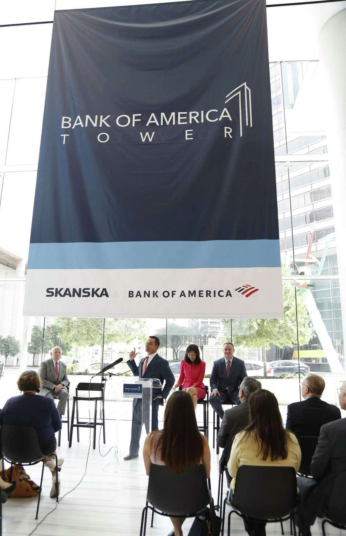 Matt Damborsky, Executive Vice President of Skanska speaks during the unveiling of the new name and logo for the Capitol Tower, now named the Bank of America Tower, Wednesday, May 22, 2019. The Bank of America Tower, a 35-story office building and a development of Skanska in downtown, has been under construction for the last two years at 800 Capitol St.