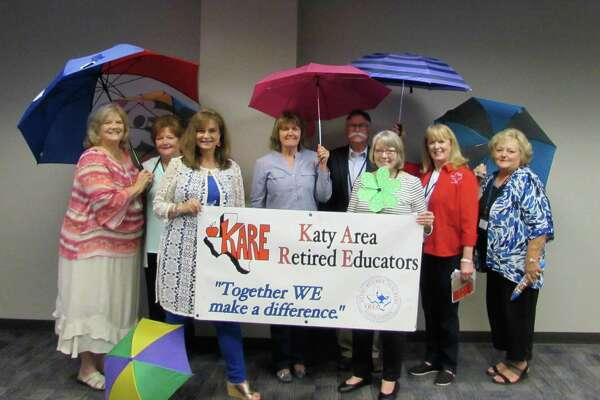 Pictured from left are 2019/2020 newly installed Katy Area Retired Educators officers Earlene Hopkins, Marsha Smith, Felice Bryant, LeeAnn Nuckles, Kathy Land and Maydell Jenks with KARE President Gerald Young and Past President Karen Thornton.