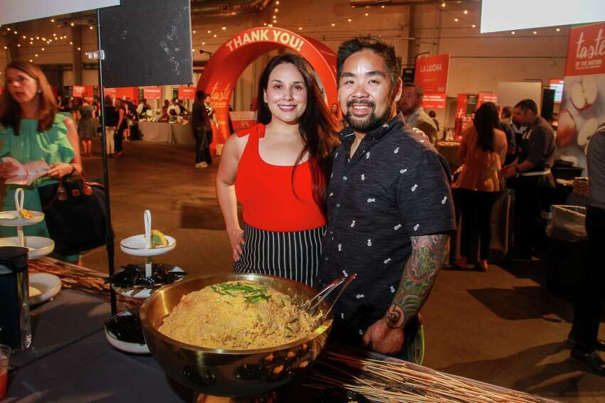 Alba Huerta and chef Alvin Schultz of Julep, with Gulf seafood pimento cheese at Taste of the Nation.