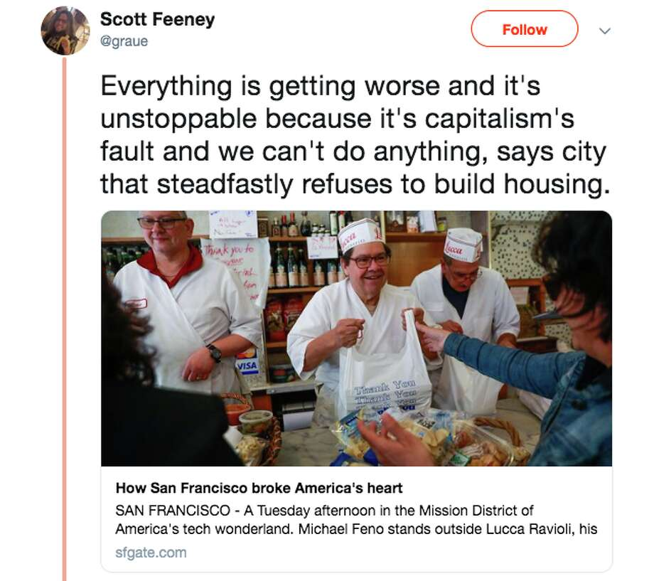 """Washington Post writer Karen Heller's piece """"How San Francisco broke America's heart"""" is the latest attempt to eulogize San Francisco. Social media users had mixed reactions to the story. Photo: Twitter"""